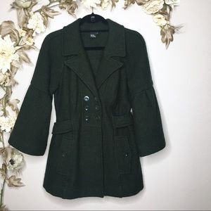 Green Bell Sleeve Wool Coat